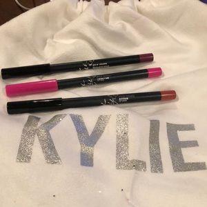 Three Kylie lip liners